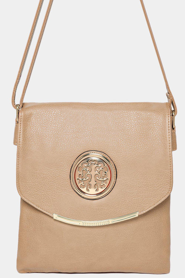 Gold Tree Logo Flap Detail Beige Messenger Bag - SinglePrice