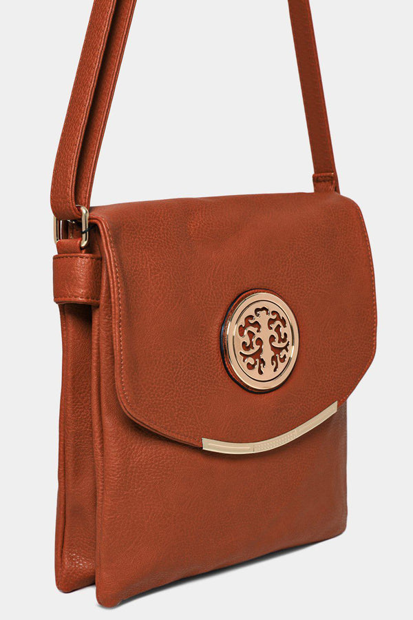Gold Tree Logo Flap Detail Brown Messenger Bag - SinglePrice