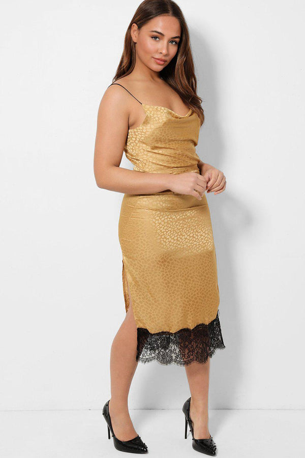 Champagne Cowl Neck Lace Insert Satin Midi Dress-SinglePrice