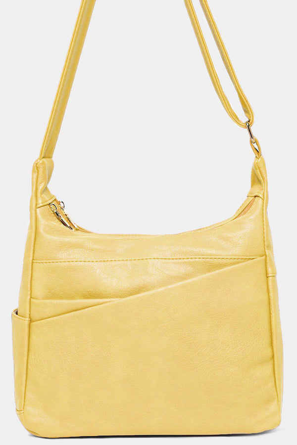 Light Yellow Soft Vegan Leather Shoulder Bag - SinglePrice