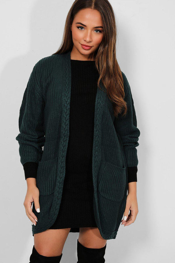 Teal Braided Trim Open Front Chunky Knit Cardigan