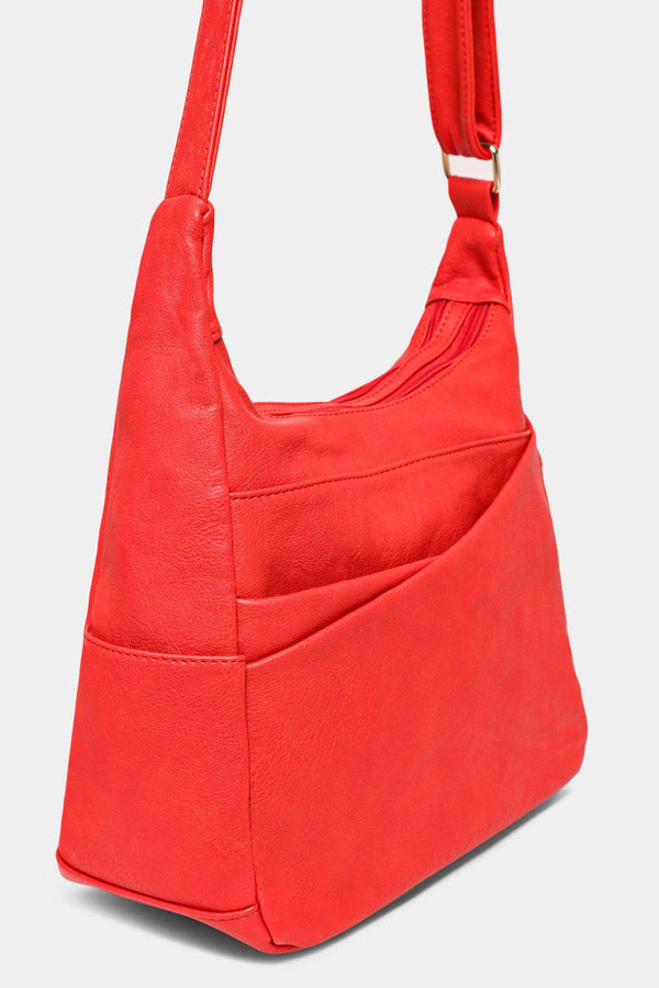 Red Soft Vegan Leather Shoulder Bag - SinglePrice