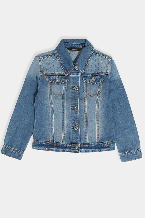 Blue Crystals Embellished Denim Girls Jacket - SinglePrice
