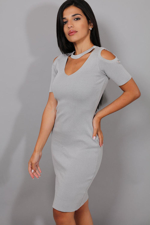 Grey Cold Shoulder Choker Knitted Dress - SinglePrice