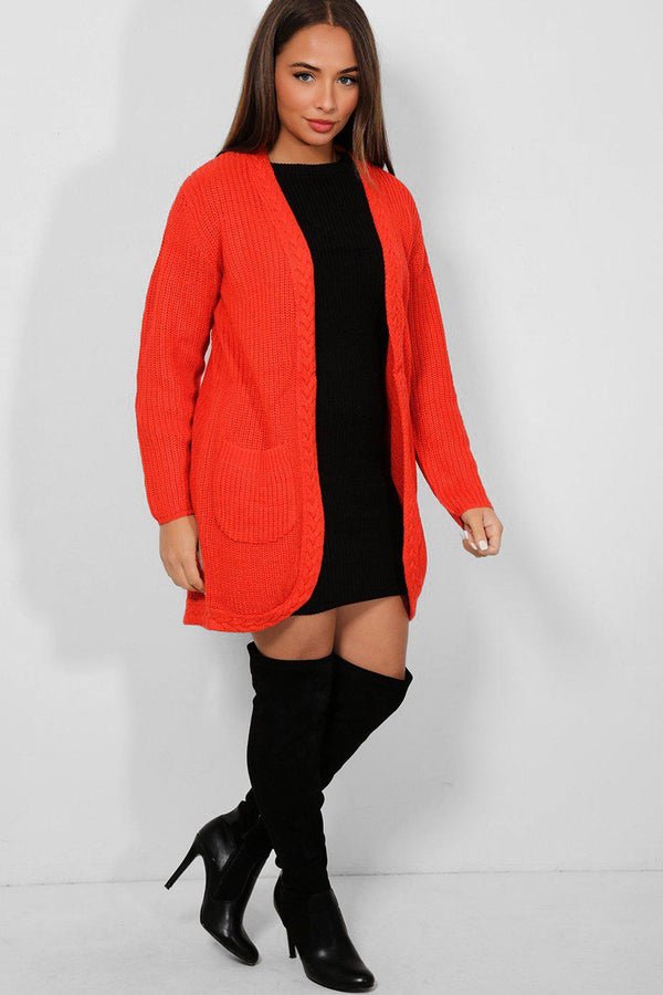 Red Braided Trim Open Front Chunky Knit Cardigan
