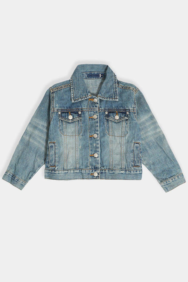 Light Blue Distressed Denim Kids Jacket - SinglePrice