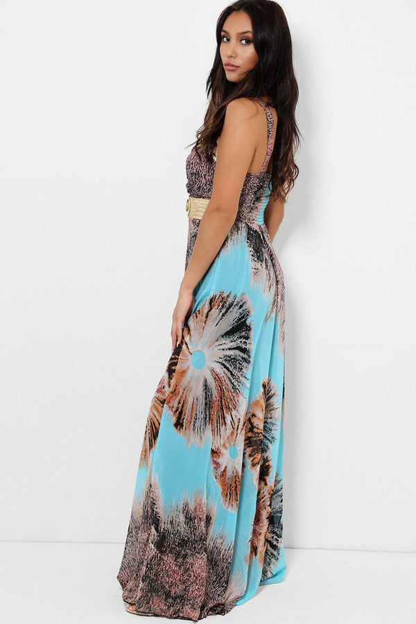 Light Blue Blurred Floral Print Chiffon Maxi Dress-SinglePrice