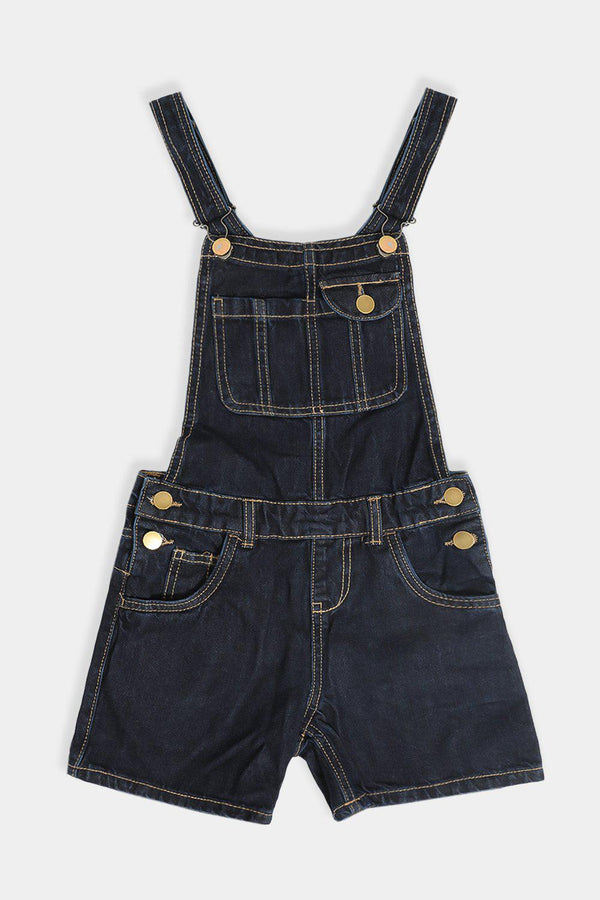 Navy Denim Asymmetric Pockets Kids Dungaree Playsuit - SinglePrice