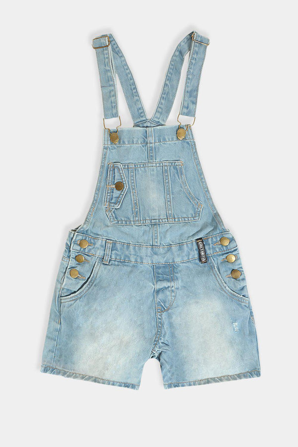 Light Blue Denim Triple Side Buttons Kids Dungaree Playsuit - SinglePrice