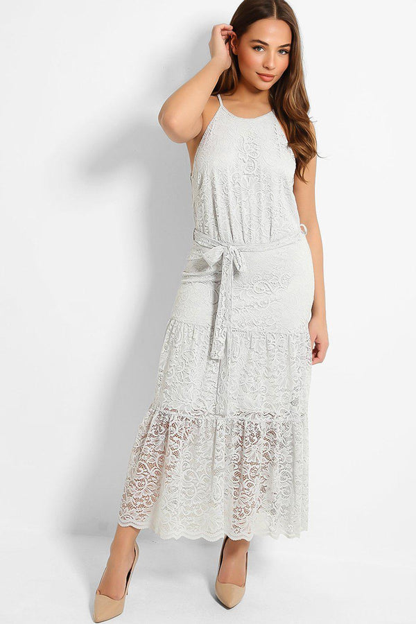 Light Grey Lace Drop Waist Maxi Dress - SinglePrice