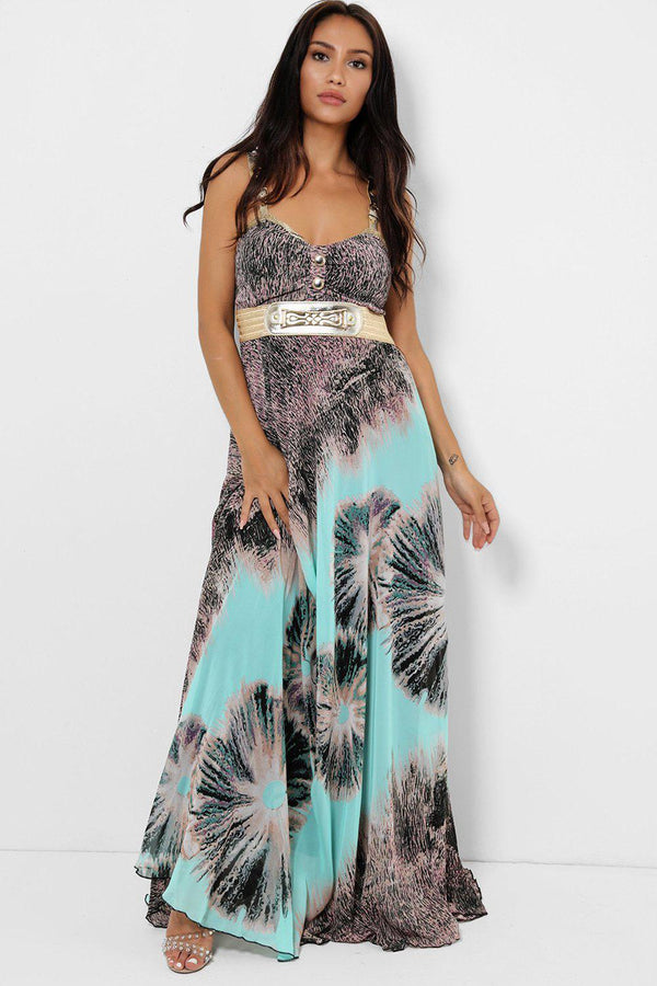 Light Green Blurred Floral Print Chiffon Maxi Dress-SinglePrice