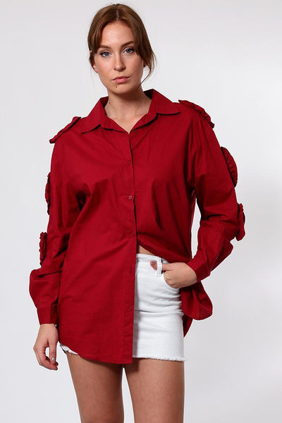 Cut Out Sleeve Detail Long Shirt-SinglePrice