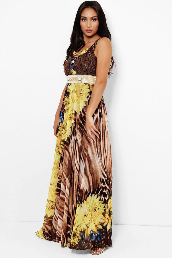 Yellow Floral Tiger Print Maxi Dress-SinglePrice