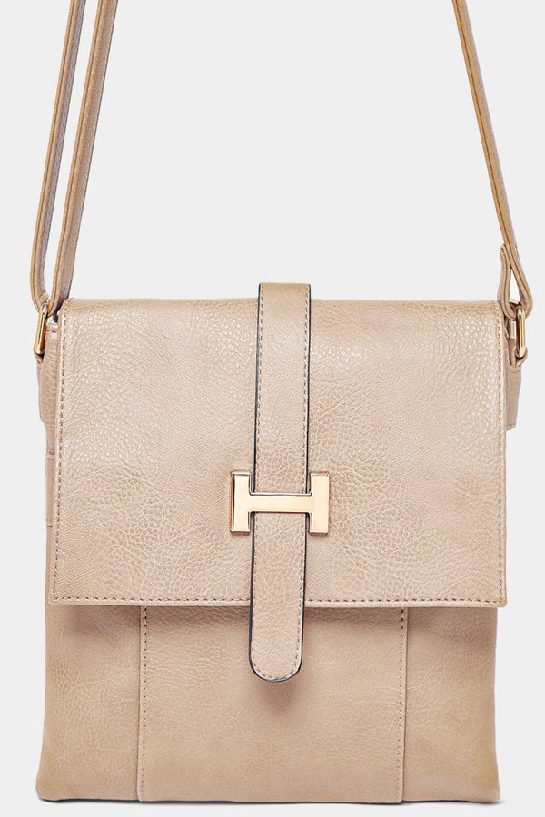 Gold Letter Logo Beige Tall Messenger Bag - SinglePrice