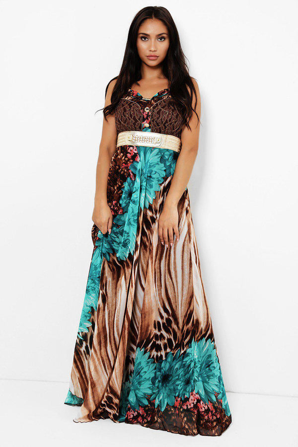 Green Floral Tiger Print Maxi Dress-SinglePrice