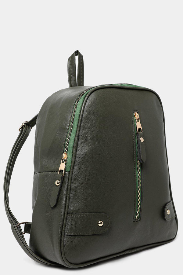 Khaki Vertical Front Zip Detail Vegan Leather Backpack-SinglePrice