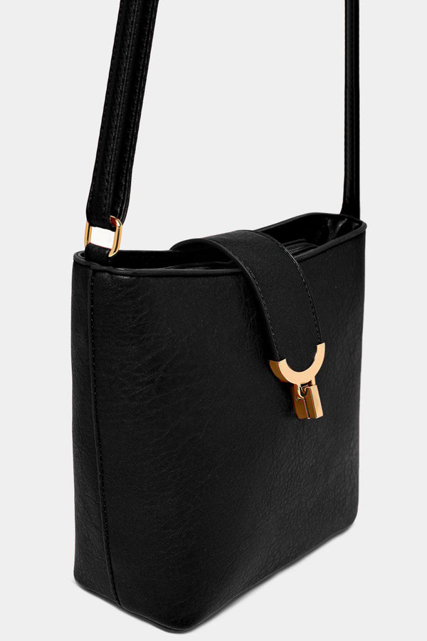 Black Vegan Leather Gold Lock Bucket Bag-SinglePrice