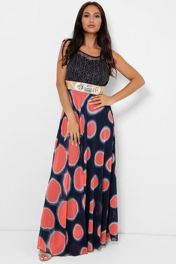 Coral Colour Dots Maxi Dress-SinglePrice