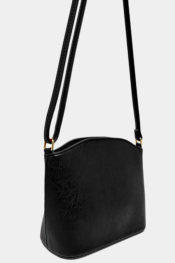 All Black Vegan Leather Mini Shoulder Bag-SinglePrice