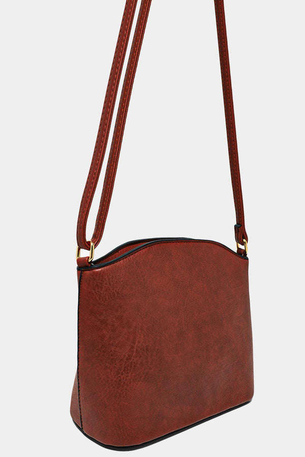 All Brown Vegan Leather Mini Shoulder Bag-SinglePrice