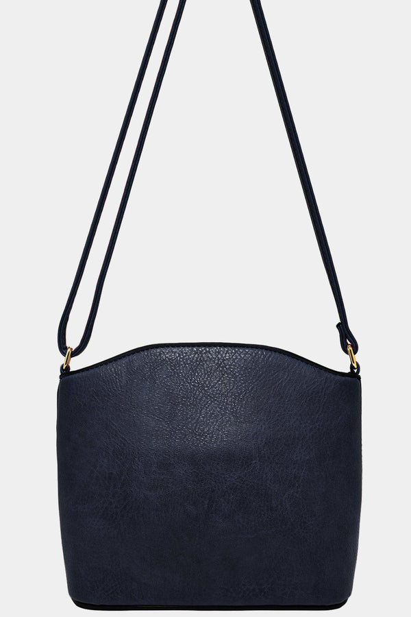 All Navy Vegan Leather Mini Shoulder Bag-SinglePrice