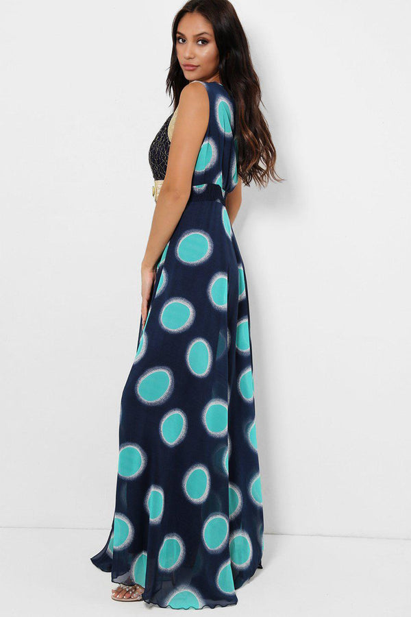 Green Colour Dots Maxi Dress-SinglePrice