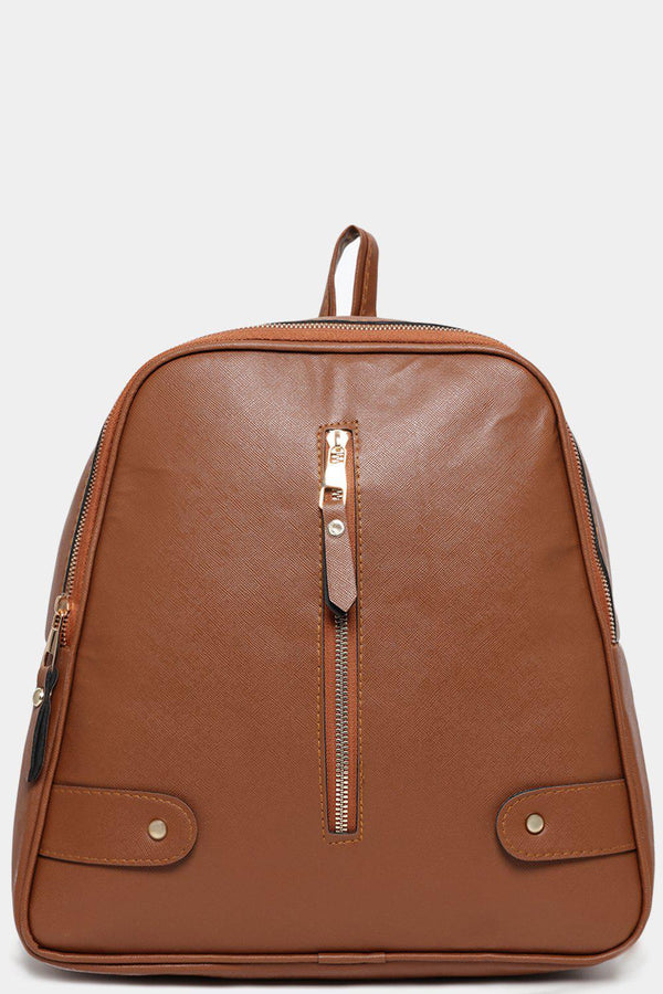 Brown Vertical Front Zip Detail Vegan Leather Backpack-SinglePrice