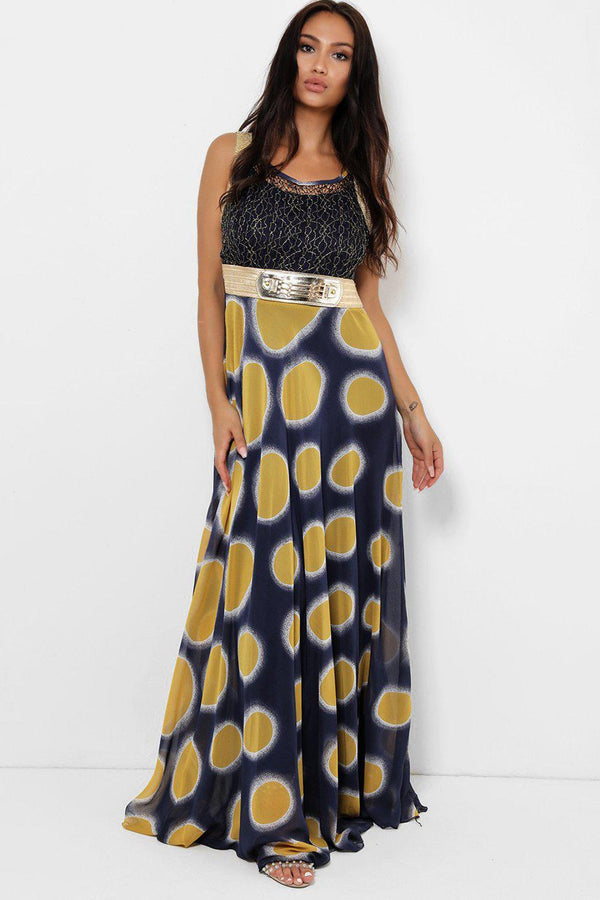 Mustard Colour Dots Maxi Dress-SinglePrice