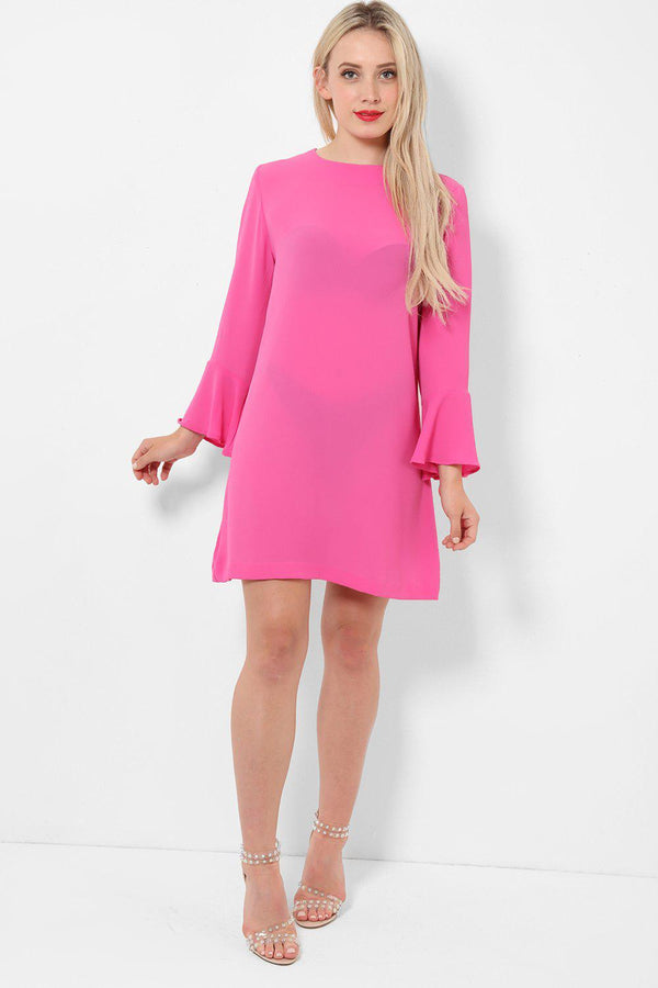 Mini Bell Sleeves Pink Dress-SinglePrice