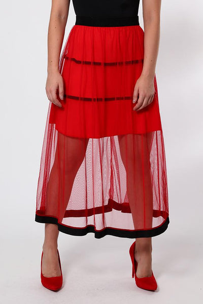 Black Trim Red Net Maxi Skirt-SinglePrice