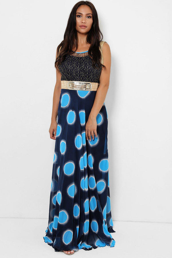 Blue Colour Dots Maxi Dress-SinglePrice