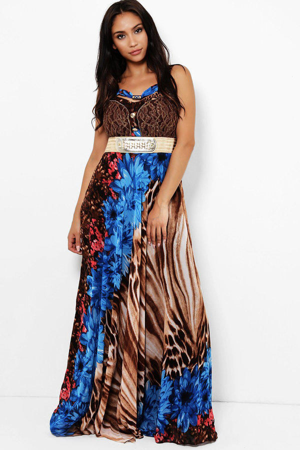 Blue Floral Tiger Print Maxi Dress-SinglePrice