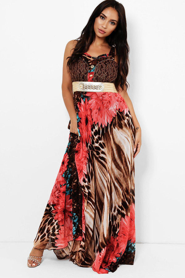 Red Floral Tiger Print Maxi Dress-SinglePrice