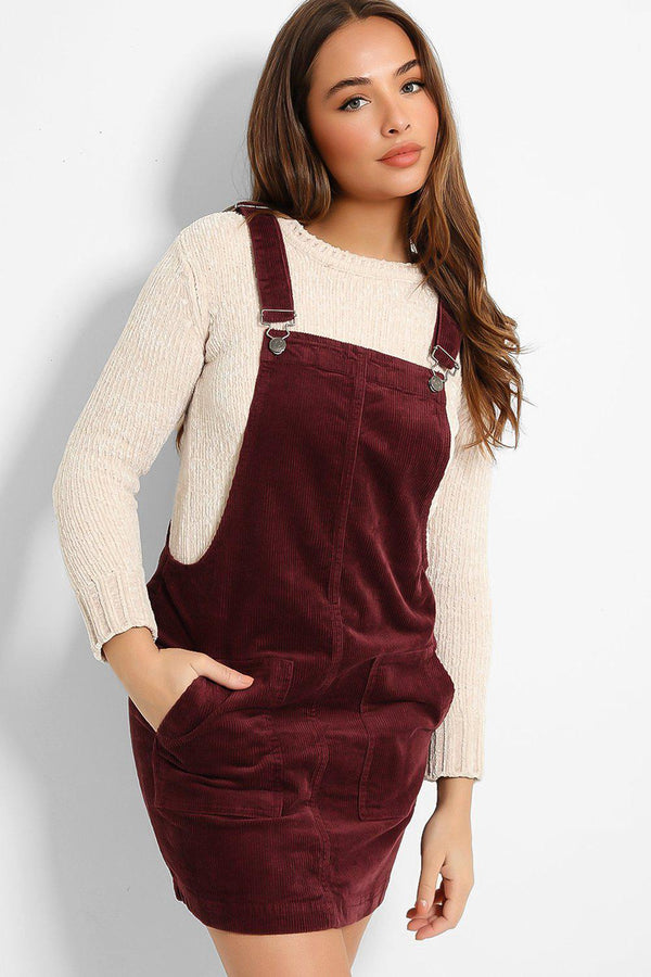 Burgundy Corduroy Dungaree Dress - SinglePrice