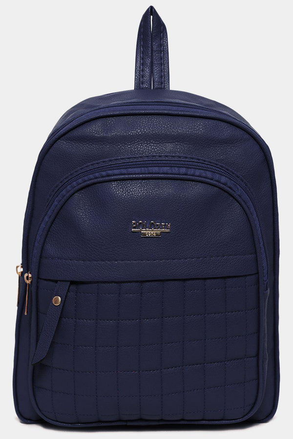 Navy Front Quilted Pocket Vegan Leather Backpack-SinglePrice