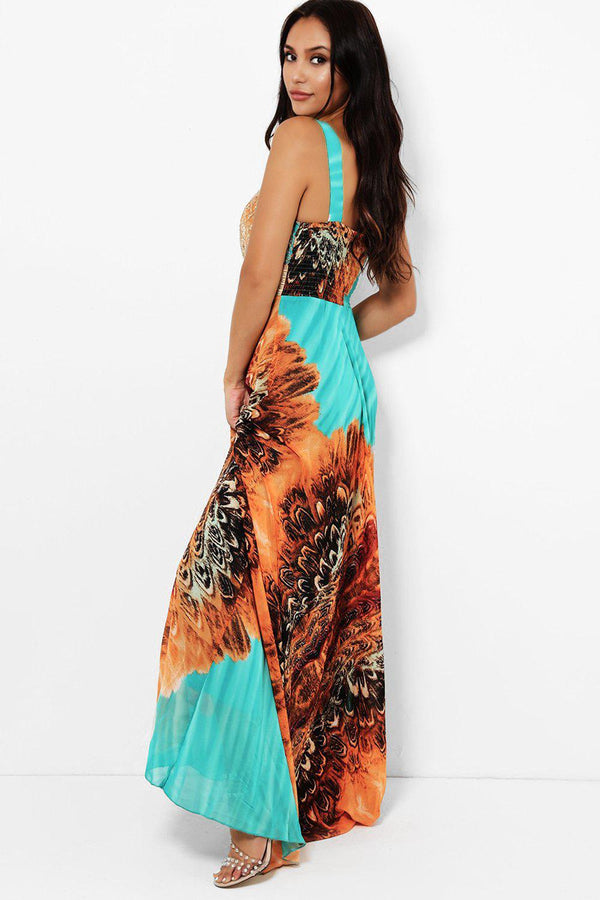 Large Green Floral Print Maxi Dress-SinglePrice