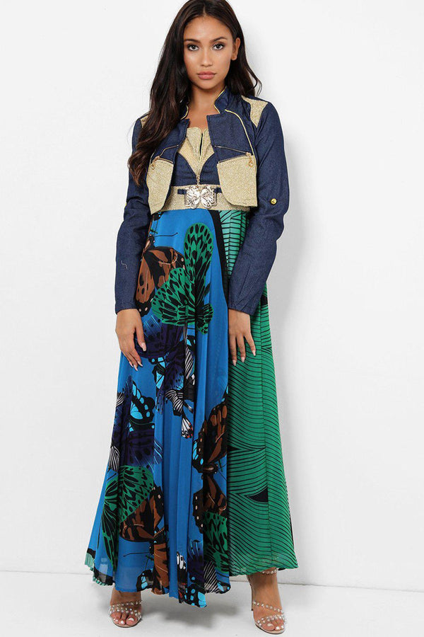 Blue Butterflies Printed Maxi Dress With Bolero Jacket-SinglePrice
