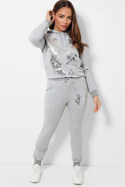Sequin Wings Embellished Grey 2 Piece Hooded Tracksuit - SinglePrice