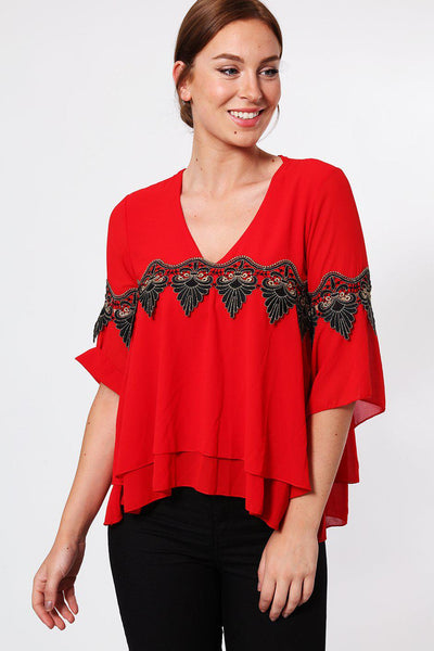 Gold Lace Detail Frill Sleeve Red V-Neck Blouse-SinglePrice