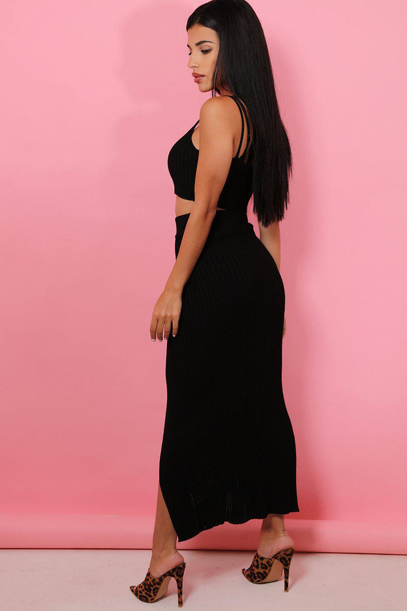 Black Knitted Crop Top High Split Maxi Skirt Set - SinglePrice