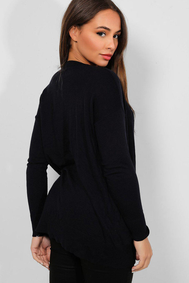 Navy Flat Knit Open Front Cardigan - SinglePrice