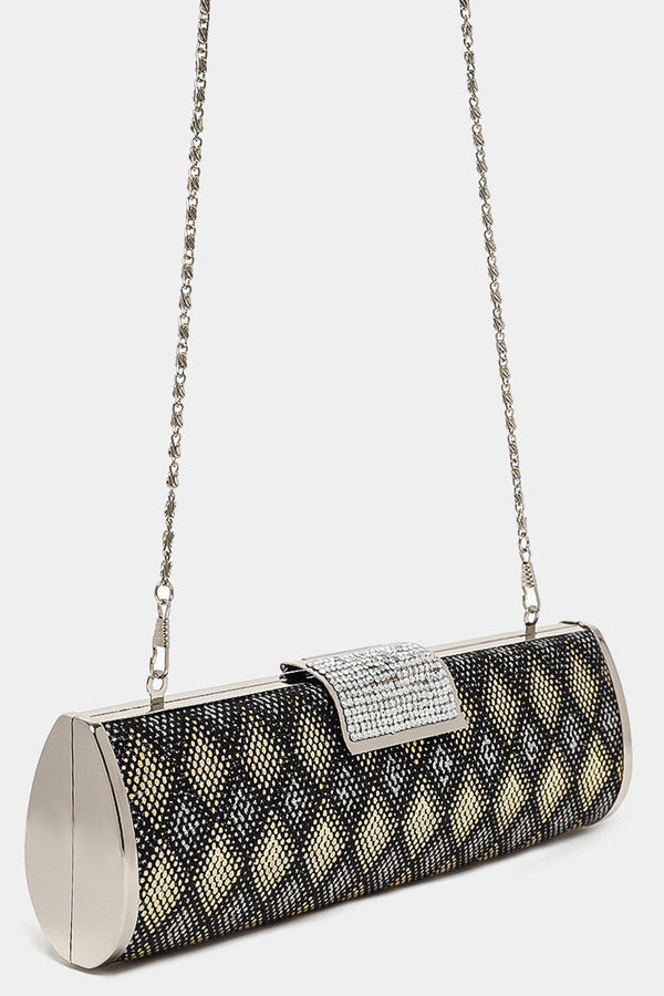 Encrusted Closure Black And Gold Diamonte Evening Bag-SinglePrice