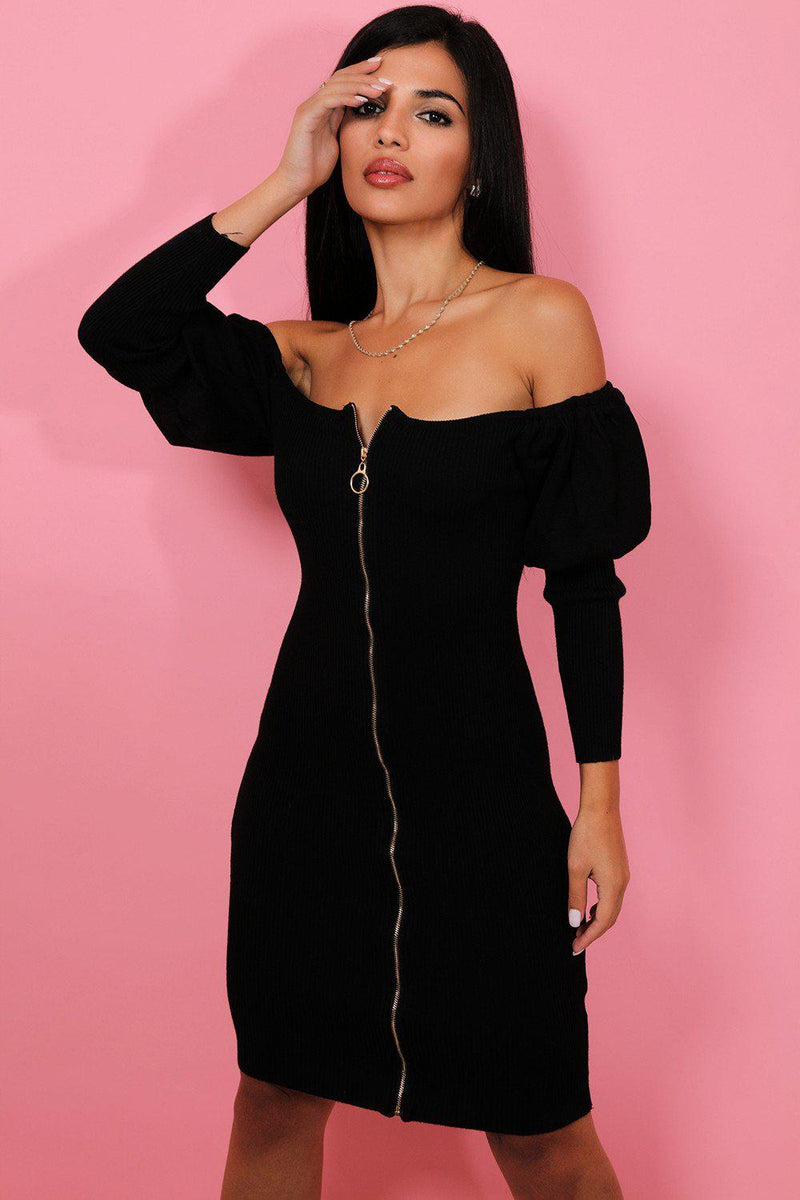 Black Off Shoulder Gold Zip Knitted Dress - SinglePrice