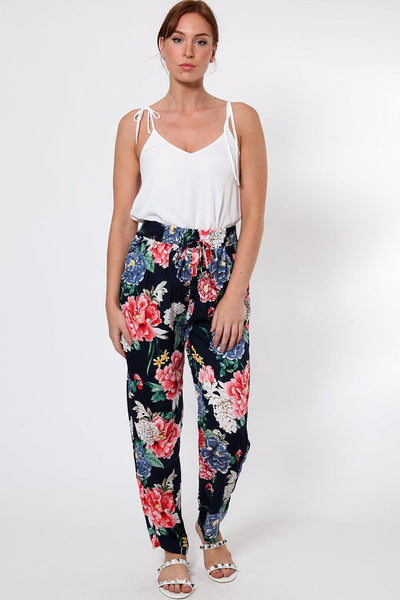 Large Floral Print Navy Leisure Trousers-SinglePrice