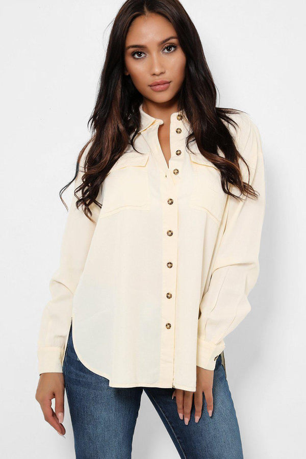 Cream Relaxed Fit Contrast Button Placket Shirt-SinglePrice