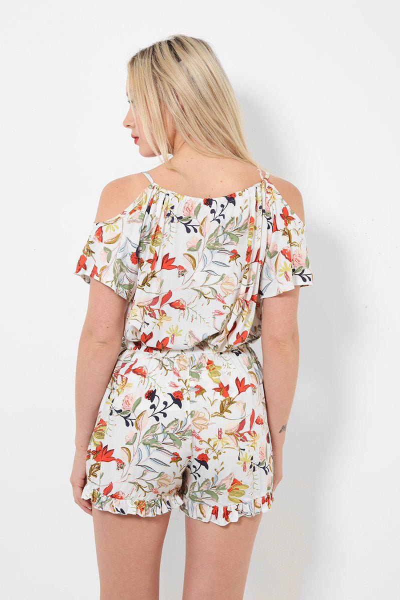 Cold Shoulder White Floral Print Set - SinglePrice