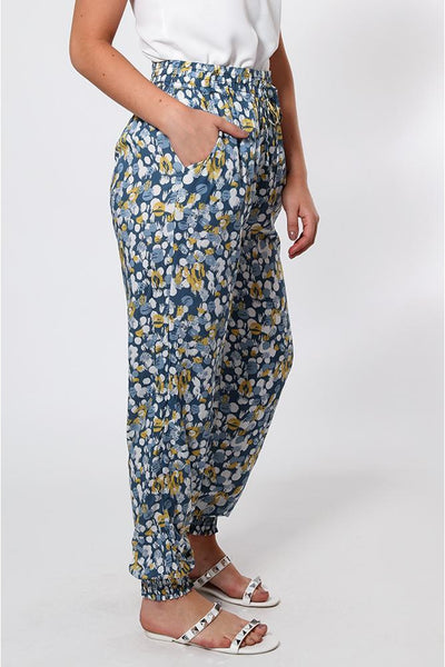 Brushstrokes Print Yellow Elastic Ankle Leisure Trousers-SinglePrice