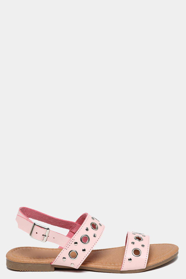 Riverts Embellished Pink Flat Sandals-SinglePrice