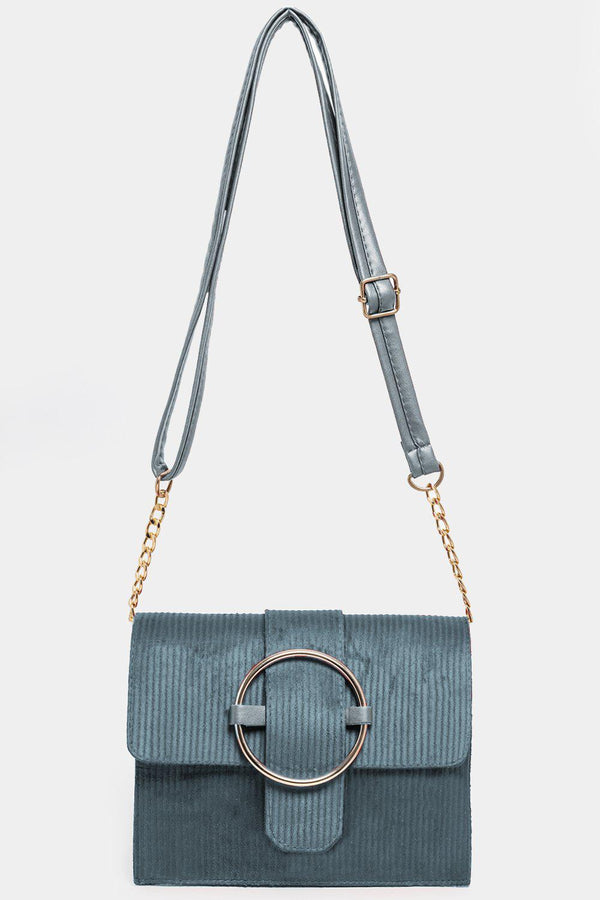 Gold Buckle Corduroy Blue Mini Shoulder Bag