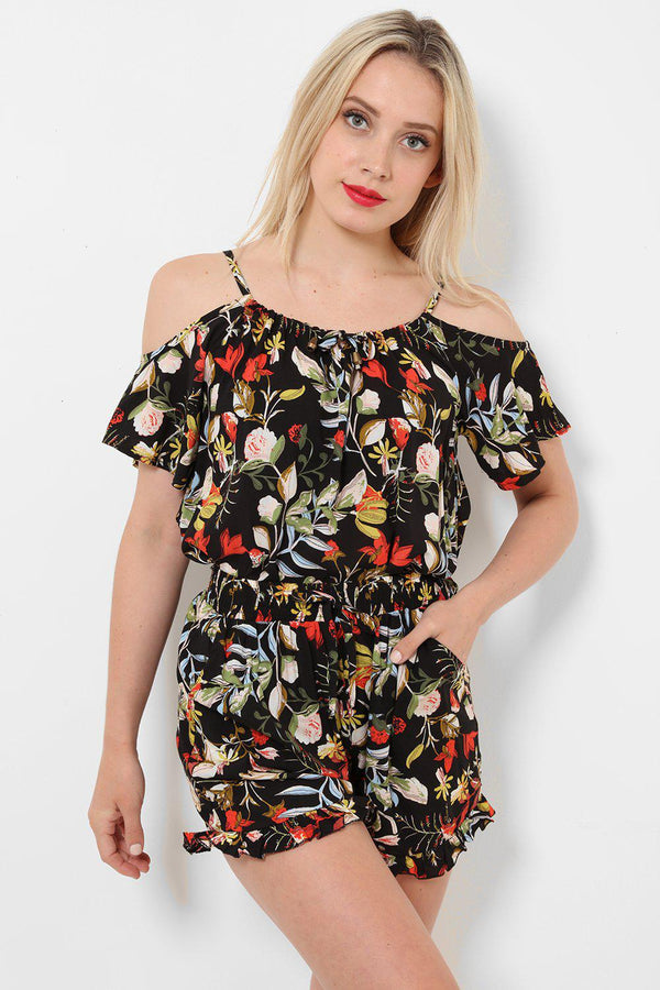Cold Shoulder Orange Black Floral Print Set - SinglePrice